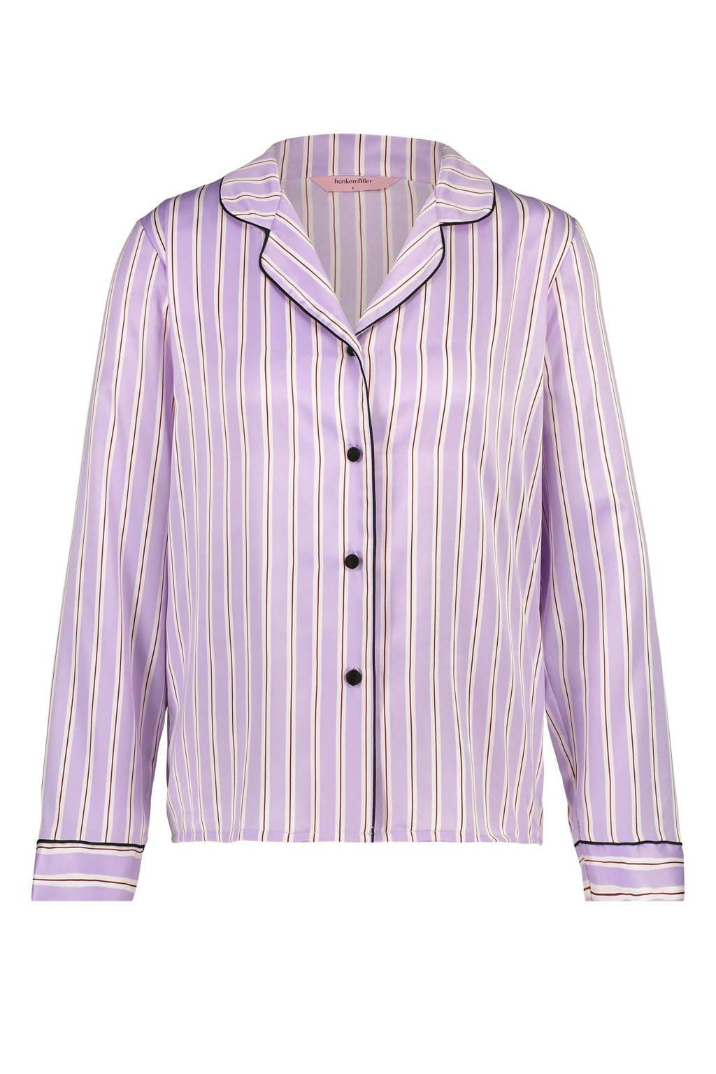 Hunkemöller pyjamatop streepdessin roze, Paars