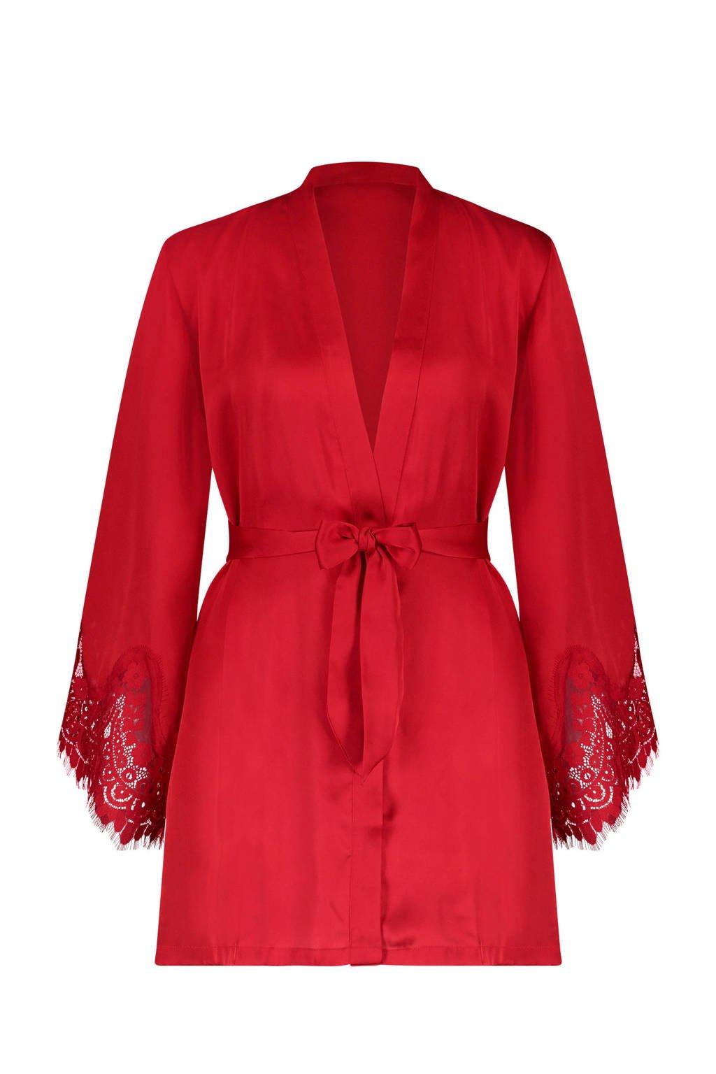 Hunkemöller kimono met kant rood, Rood