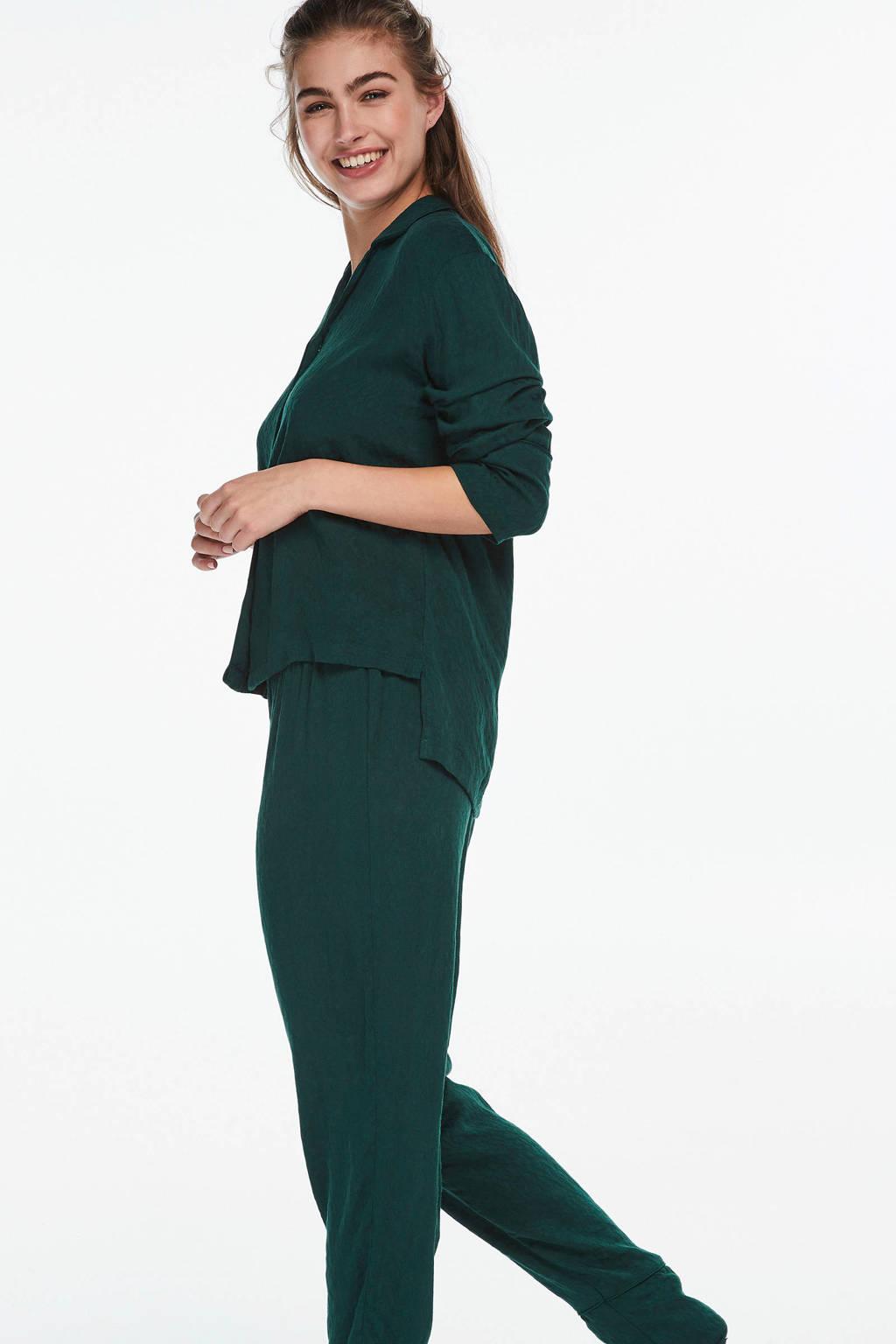 Hunkemöller pyjamatop met geweven opdruk groen, Groen