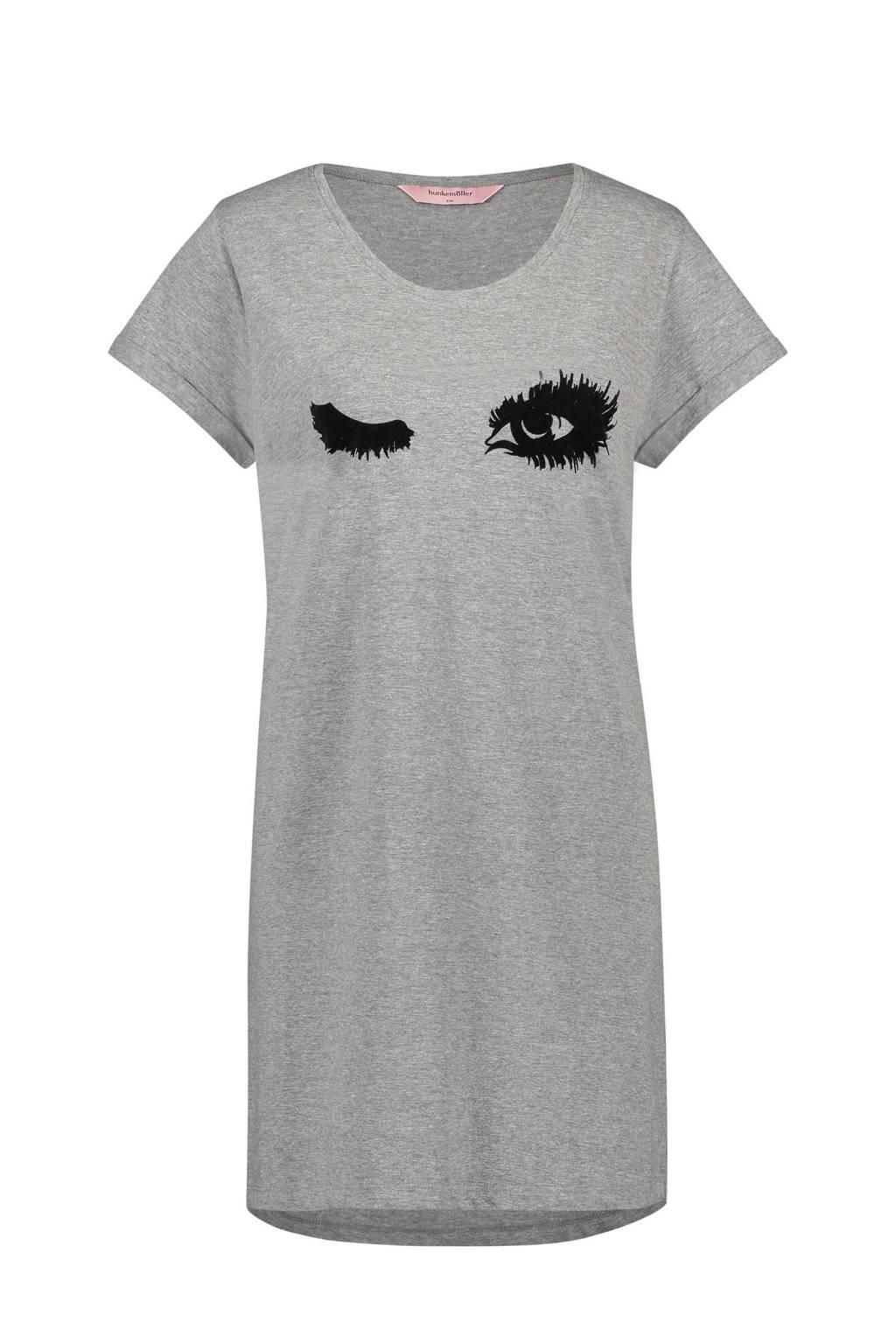 Nighties nachthemd met printopdruk grijs, Grijs