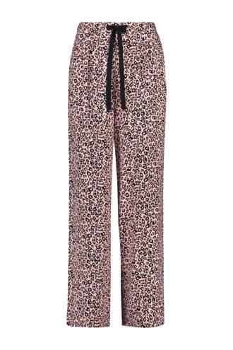 pyjamabroek met panterprint koraal