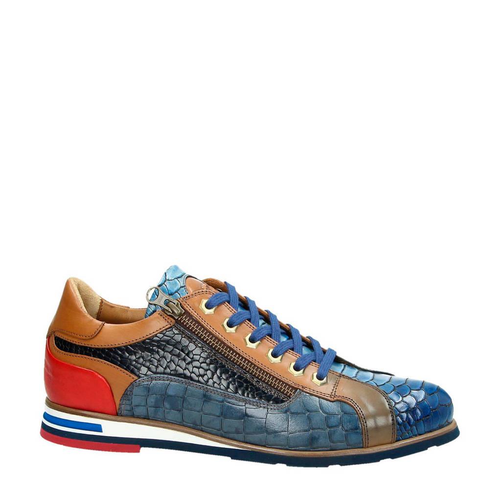 Lorenzi   leren sneakers blauw, Blauw/multi
