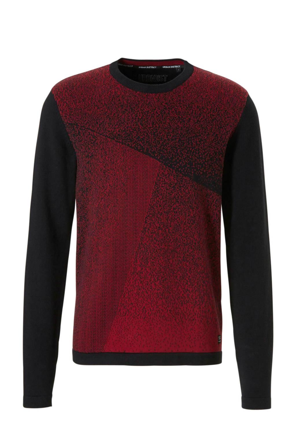 C&A Angelo Litrico trui met print zwart, Rood/zwart