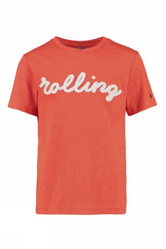 T-shirt Olson met tekst oranje