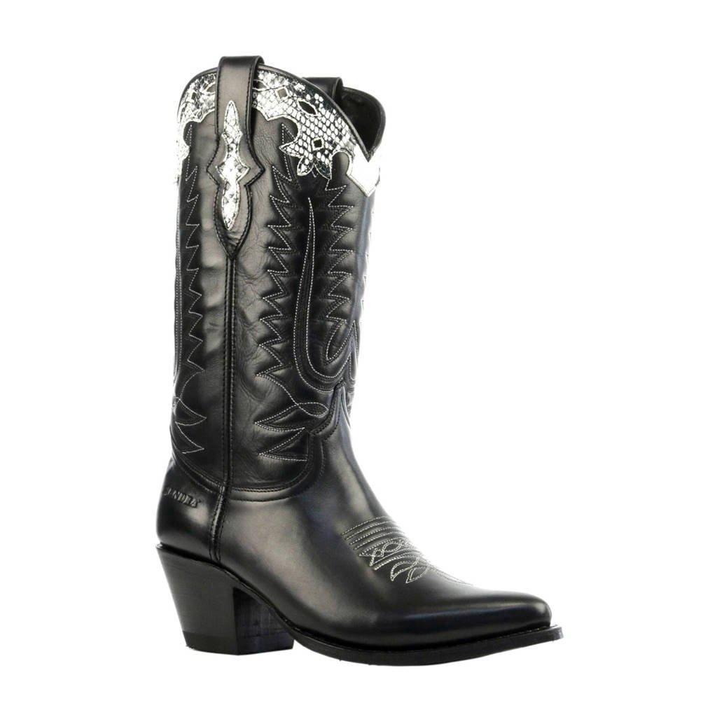 Sendra leren cowboy boots zwart, Zwart