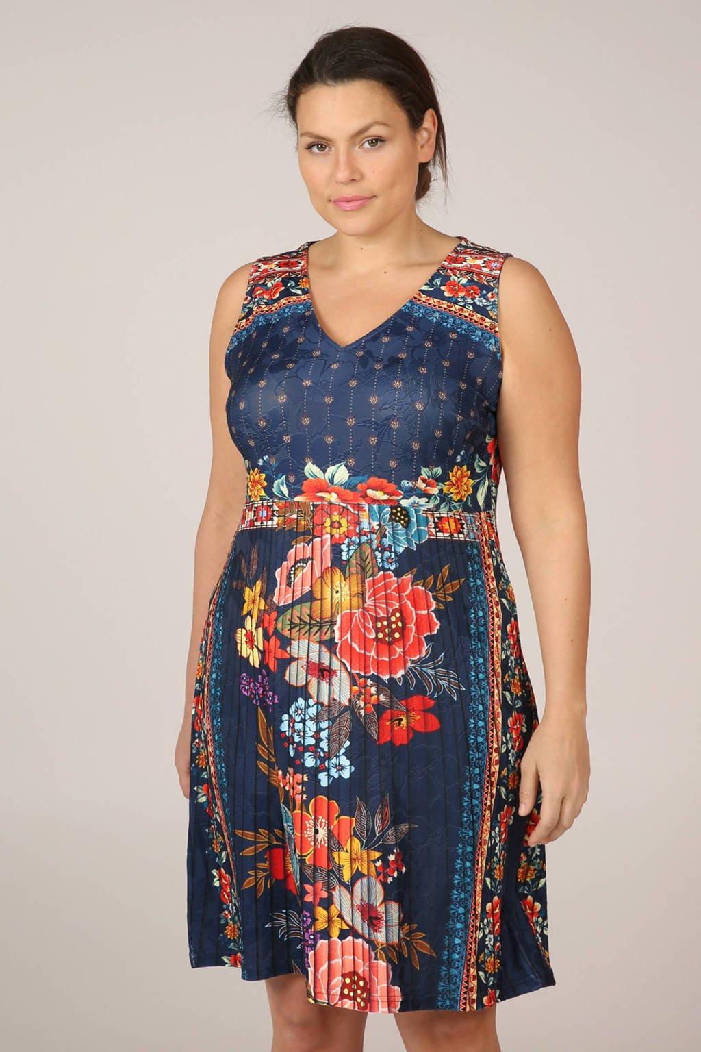 Paprika gebloemde plissé jurk, Blauw/rood