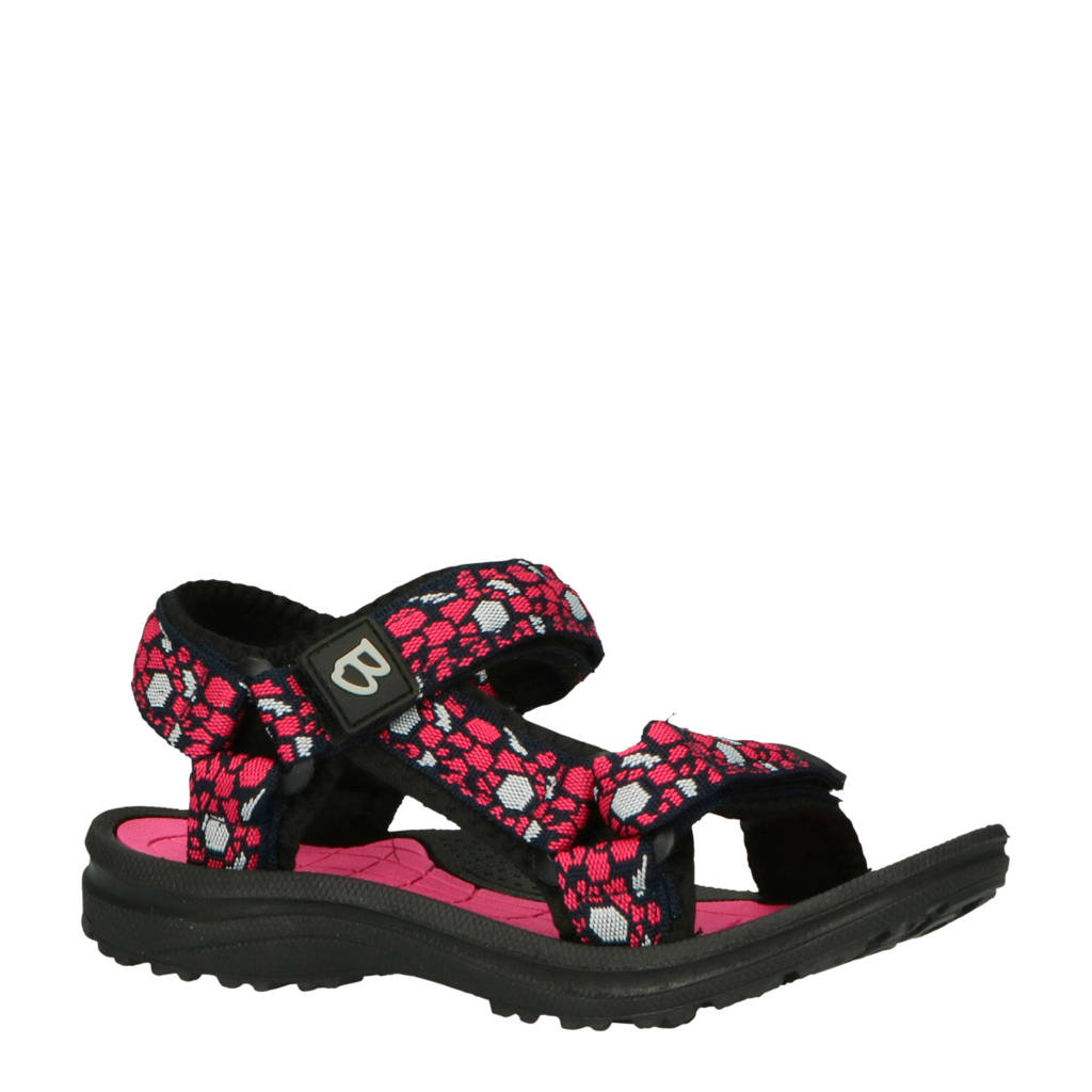 Braqeez sandalen roze/zwart, Roze/zwart