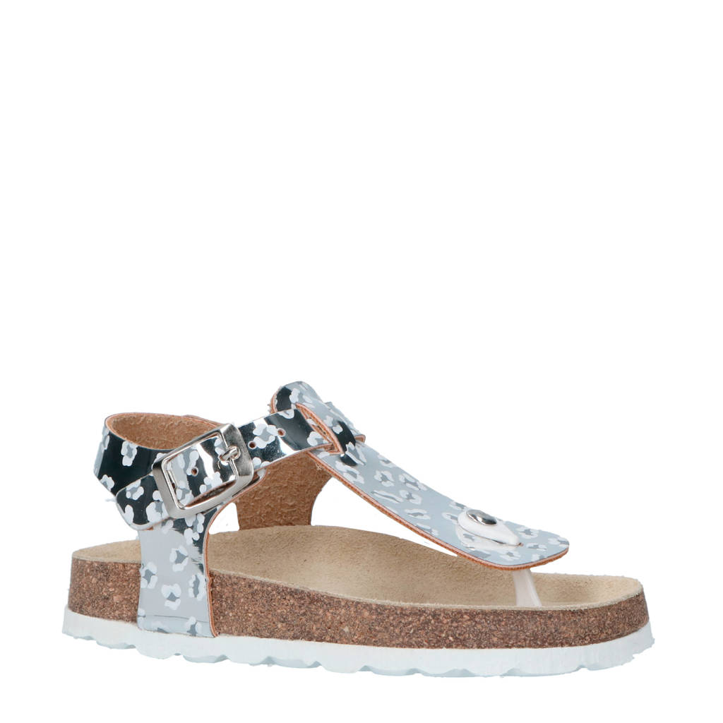 Braqeez sandalen zilver met panterprint, Zilver/wit