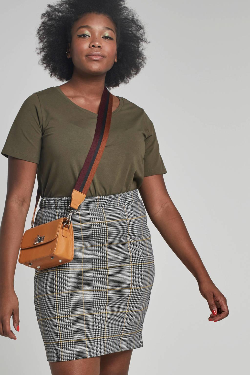 whkmp's great looks geruite rok zwart/wit/geel, Zwart/wit/geel