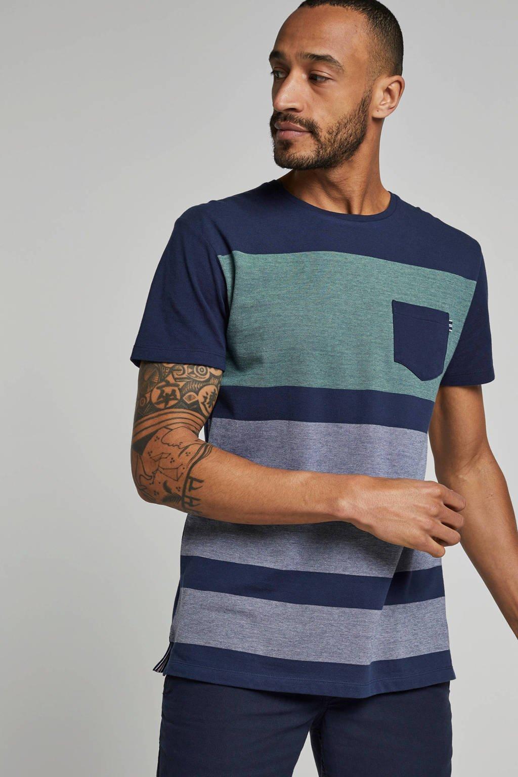 ESPRIT Men Casual T-shirt met borstzakje, Blauw/groen