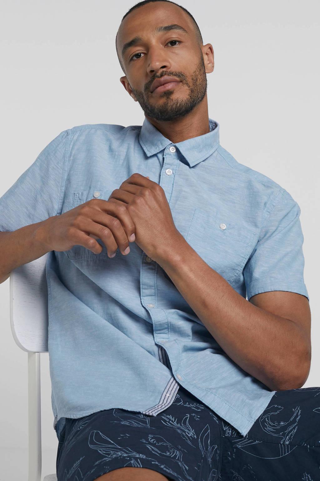 edc Men gemêleerd regular fit overhemd met linnen, Blauw