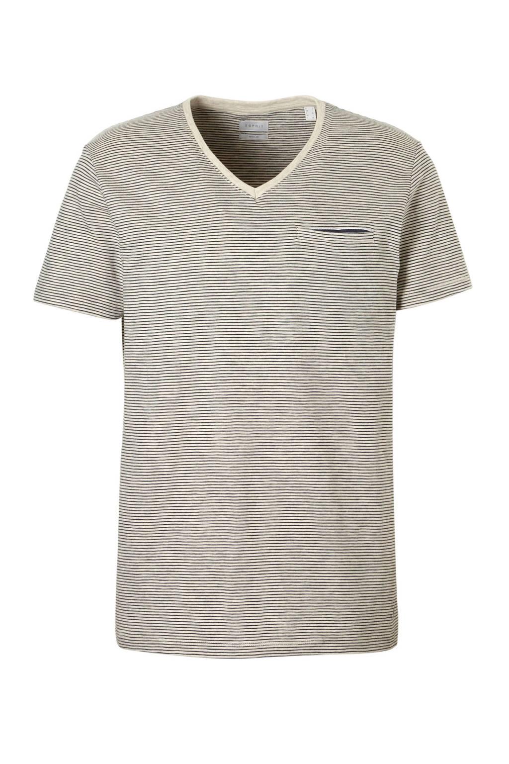 ESPRIT Men Casual T-shirt, Ecru/grijs