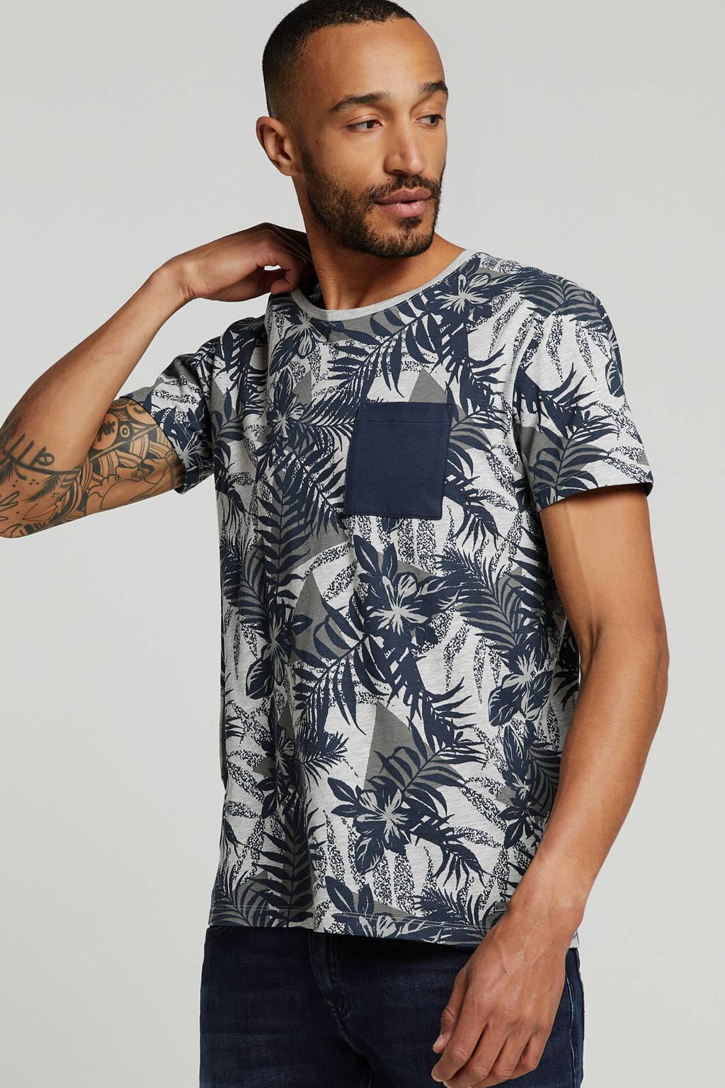 edc Men T-shirt, Wit/blauw/grijs