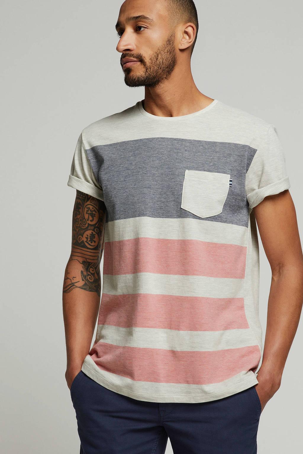 ESPRIT Men Casual T-shirt met borstzakje, Wit melange