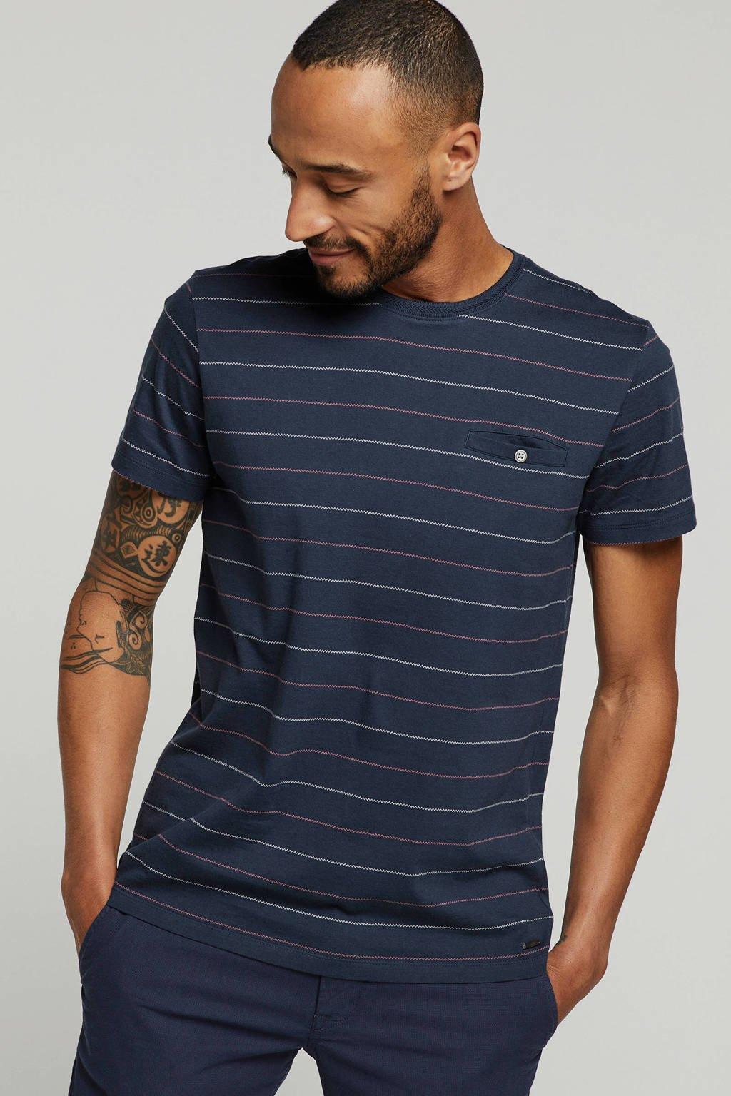 ESPRIT Men Casual T-shirt ronde hals, donkerblauw streep