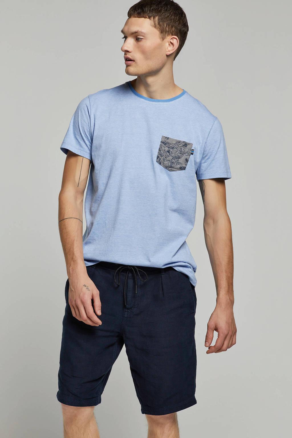 ESPRIT Men Casual T-shirt met borstzakje, Lichtblauw