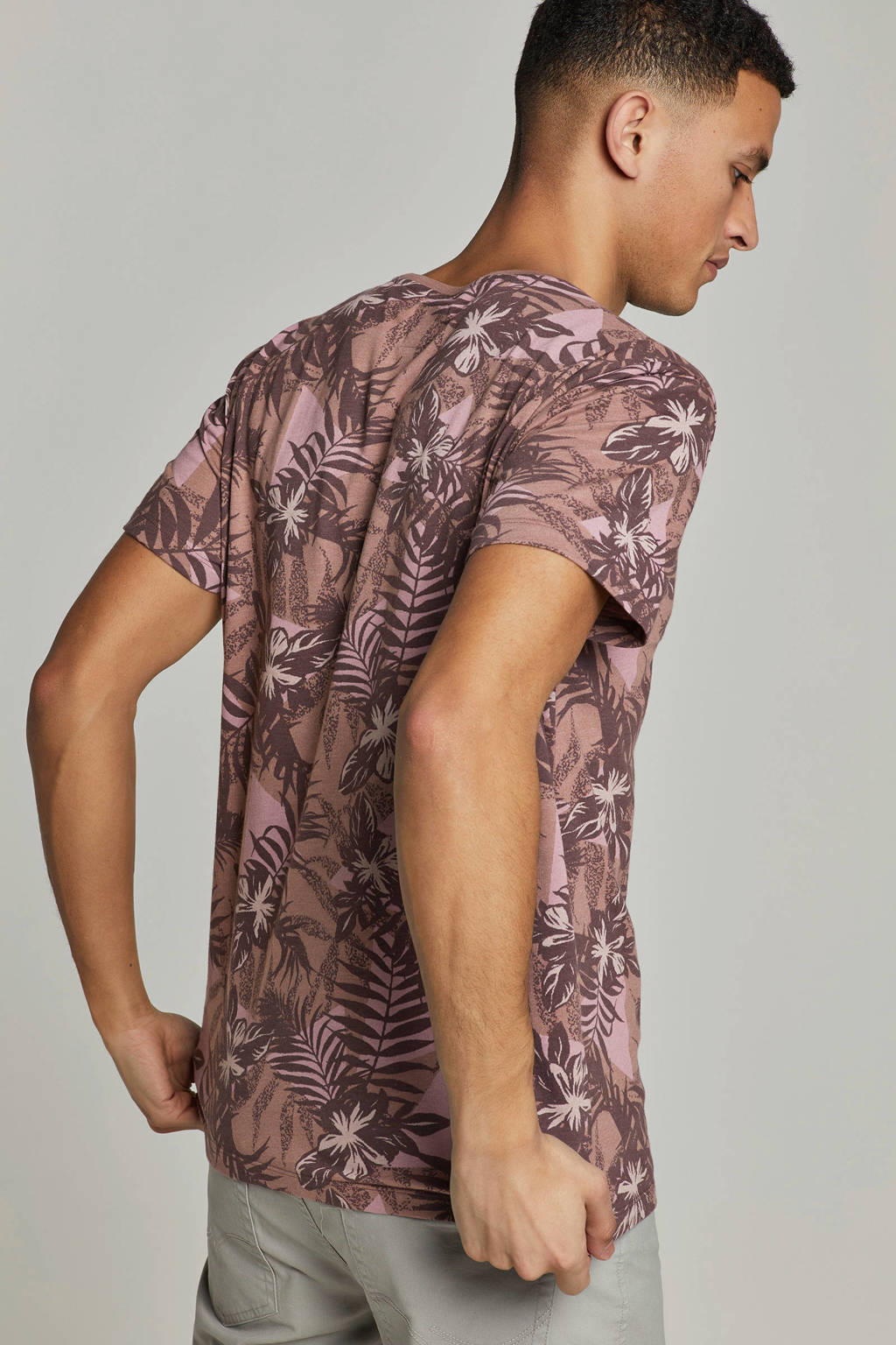edc Men T-shirt met bladmotief, Roze/bruin