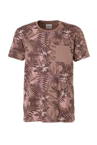 edc Men T-shirt met bladmotief