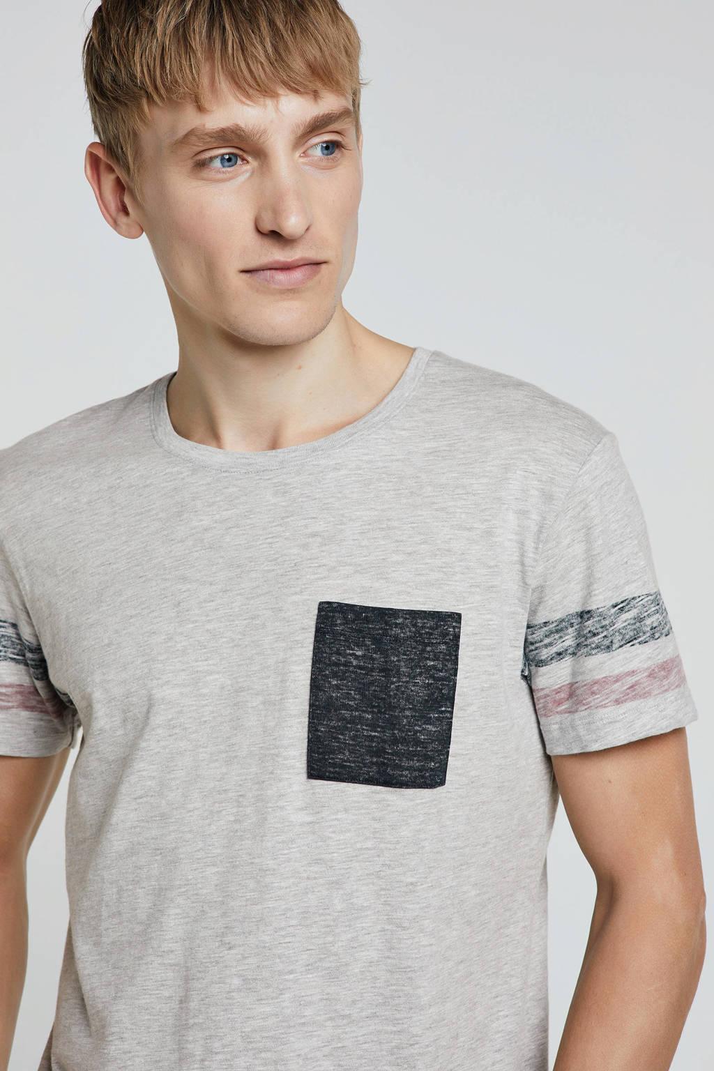 edc Men T-shirt met borstzakje, Grijs