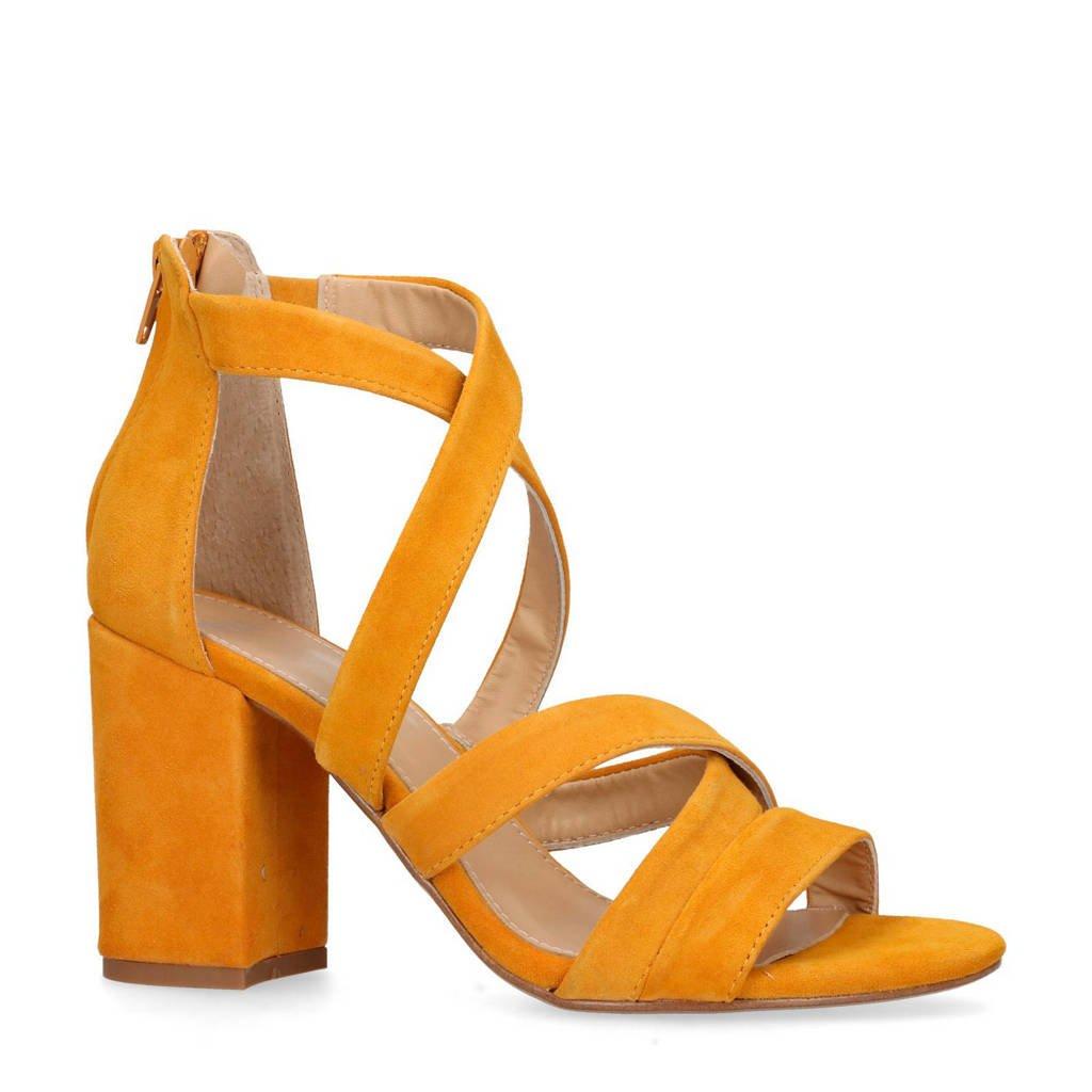 Manfield suède sandalettes okergeel, Okergeel