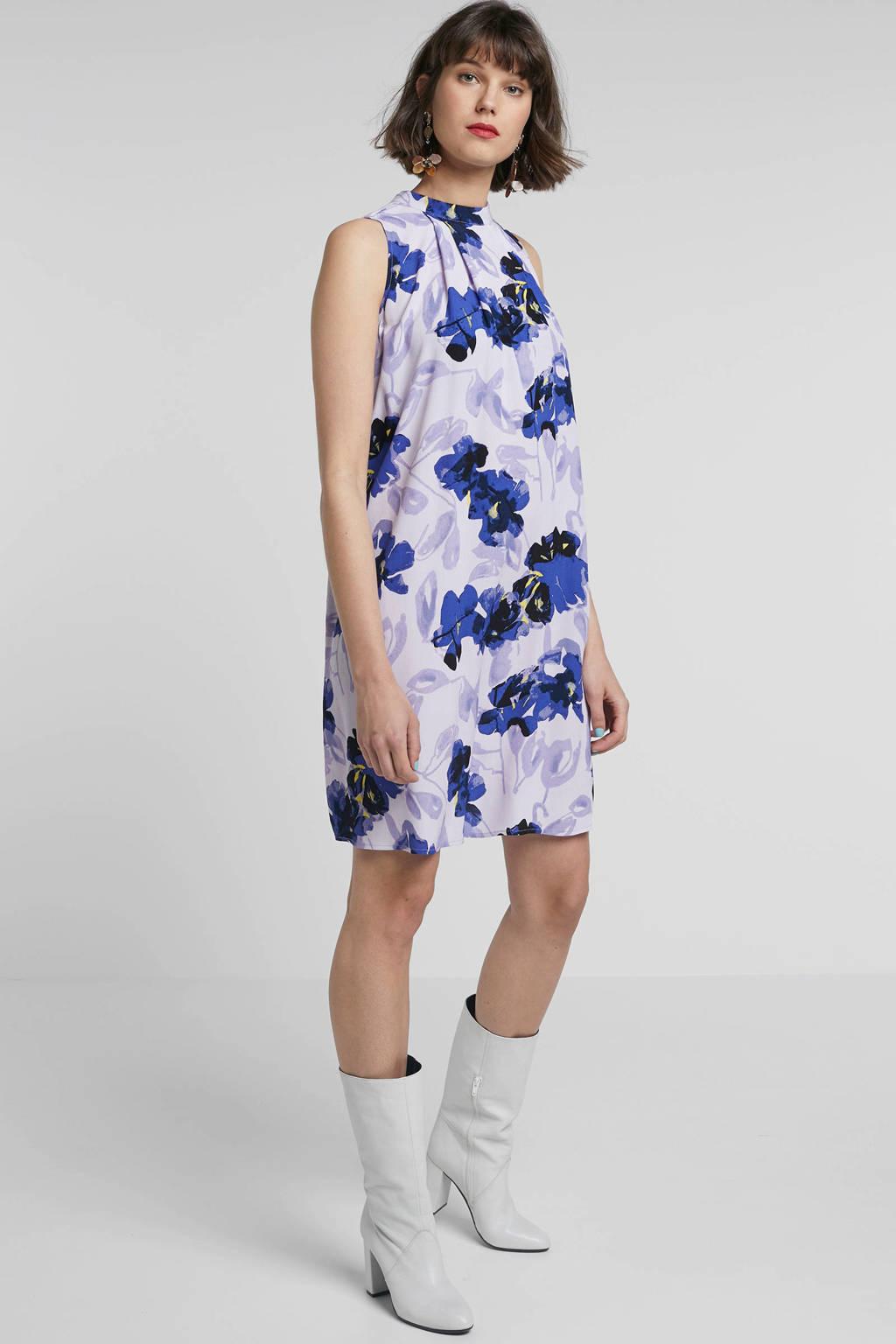 Y.A.S gebloemde jurk lila, Lila/blauw