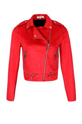 suéde jas rood