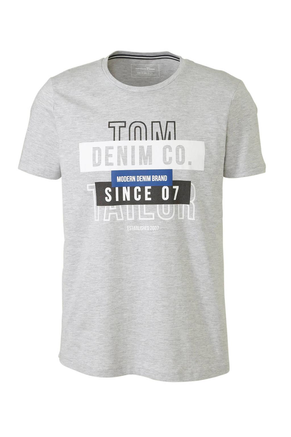 Tom Tailor Denim gemêleerd T-shirt met print grijs, Grijs