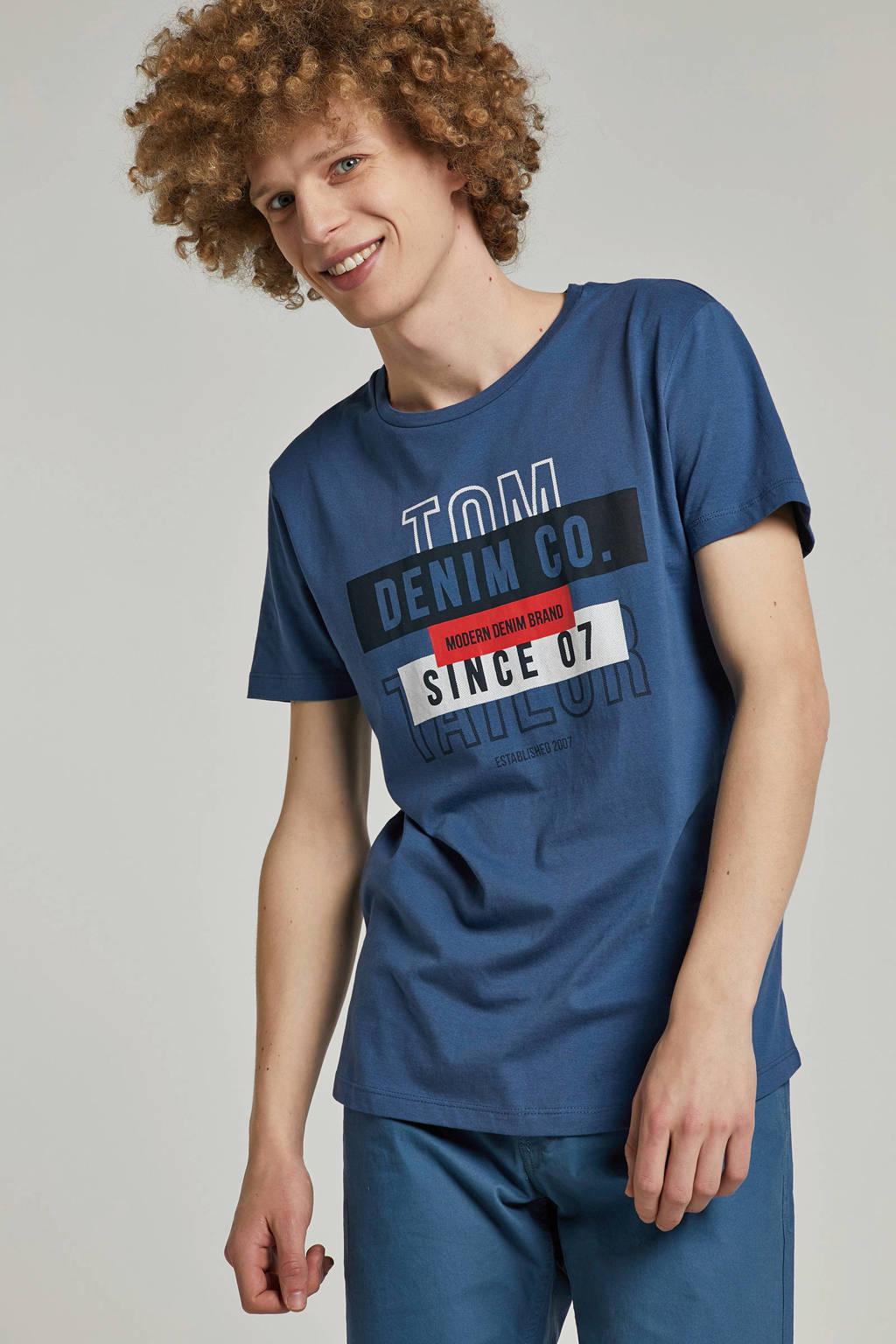 Tom Tailor Denim gemêleerd T-shirt met print, Blauw