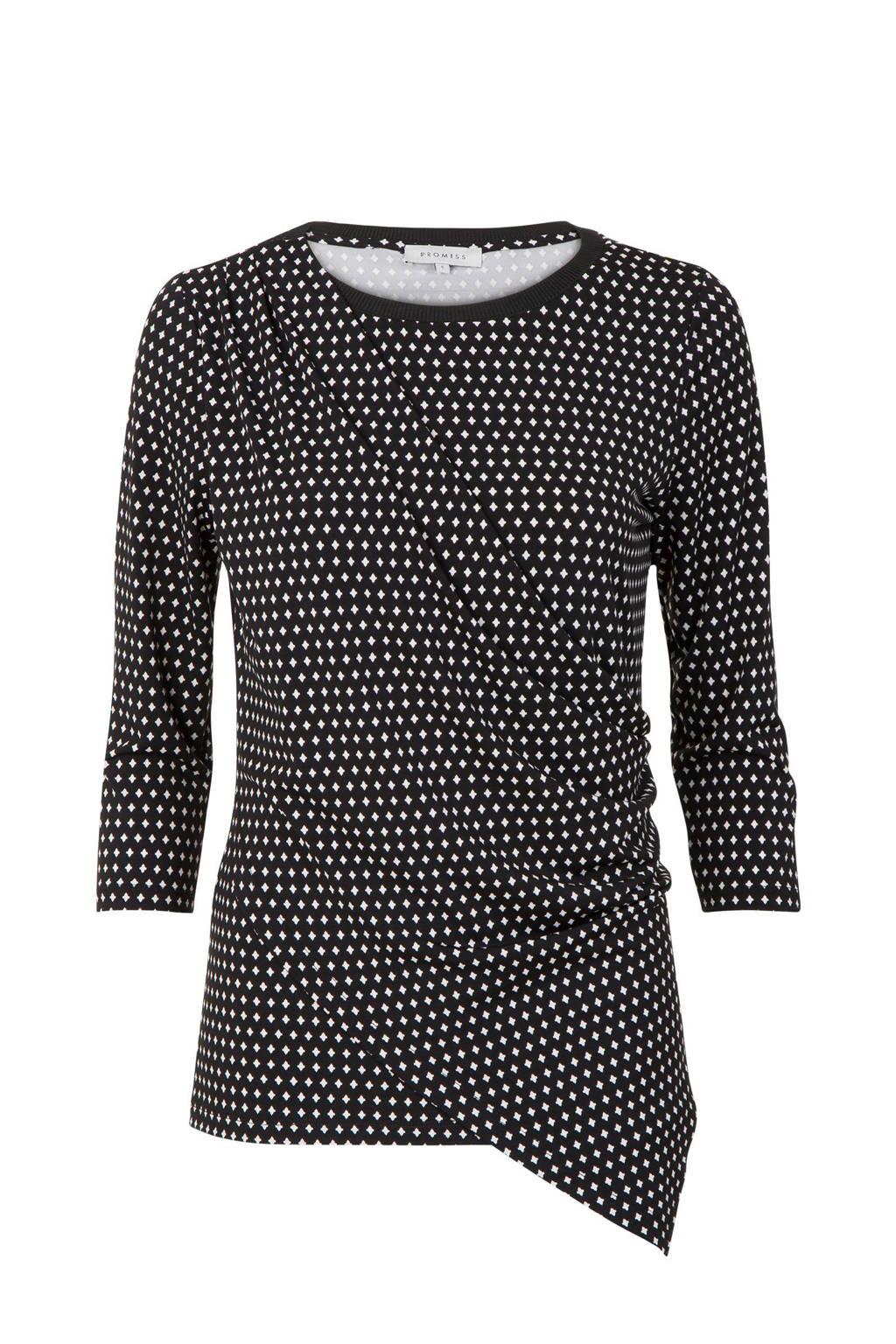 Promiss T-shirt met all over print zwart, Zwart/wit