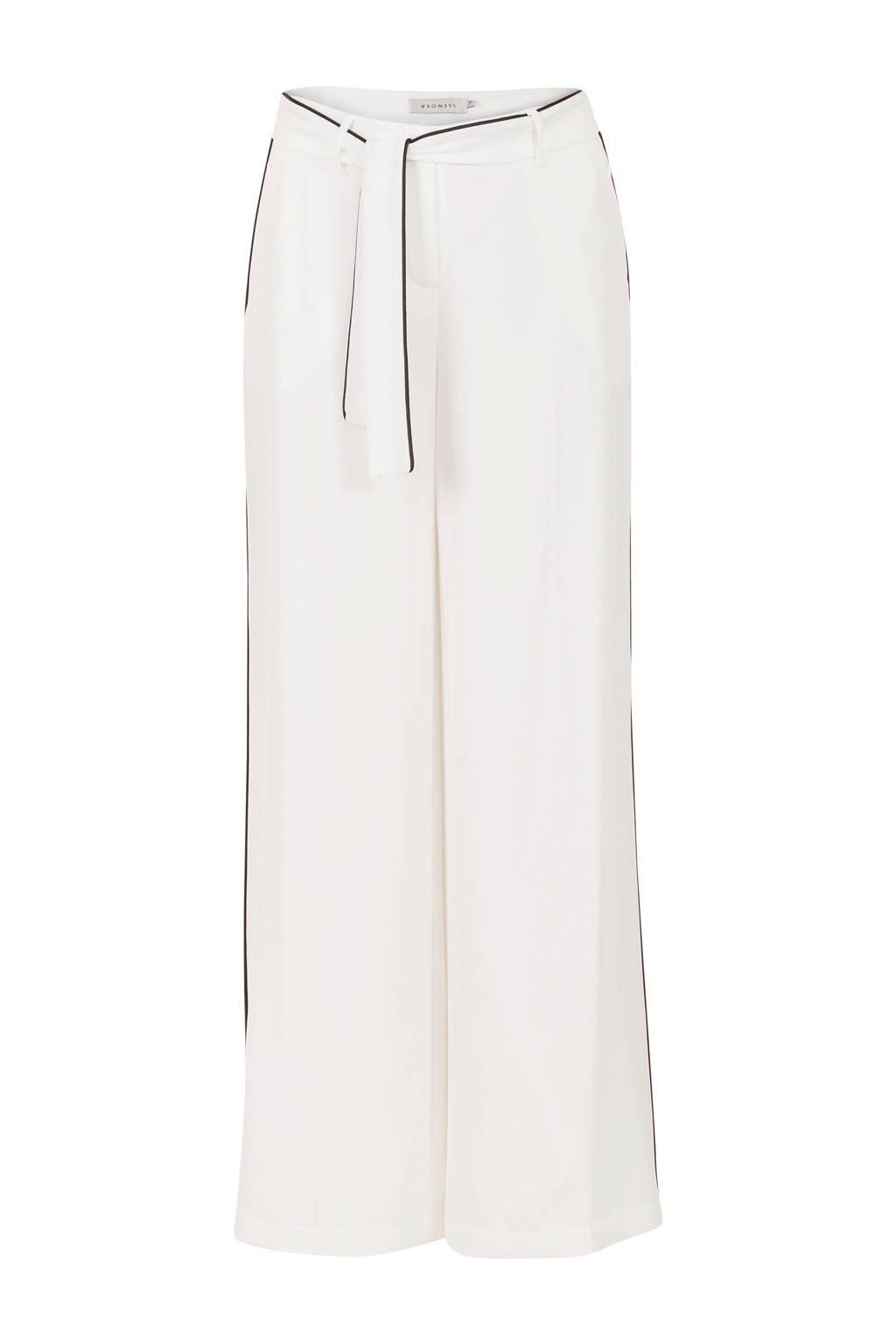 Promiss pantalon met zijstreep, Wit