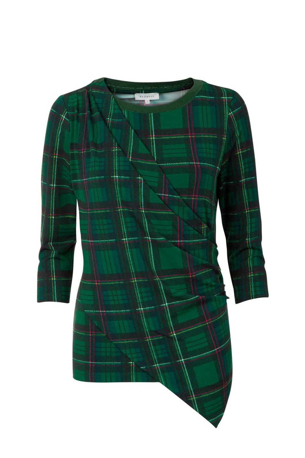 Promiss T-shirt met all over ruit print groen, Groen/Wit/Rood