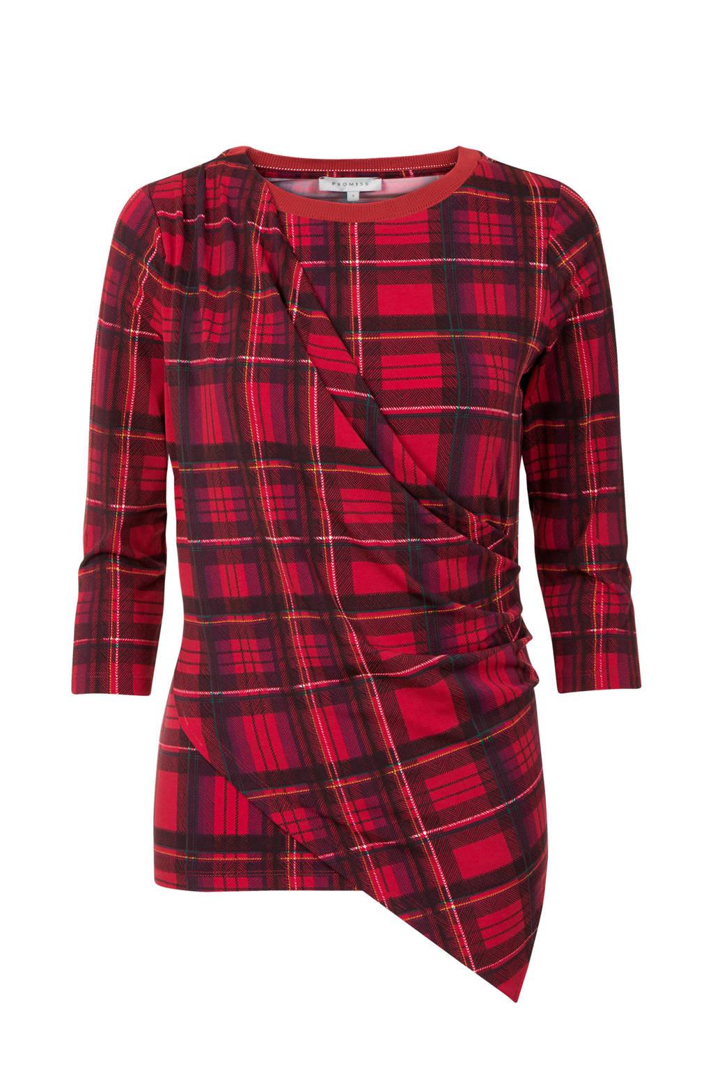 Promiss T-shirt met all over ruit print rood, Rood/zwart