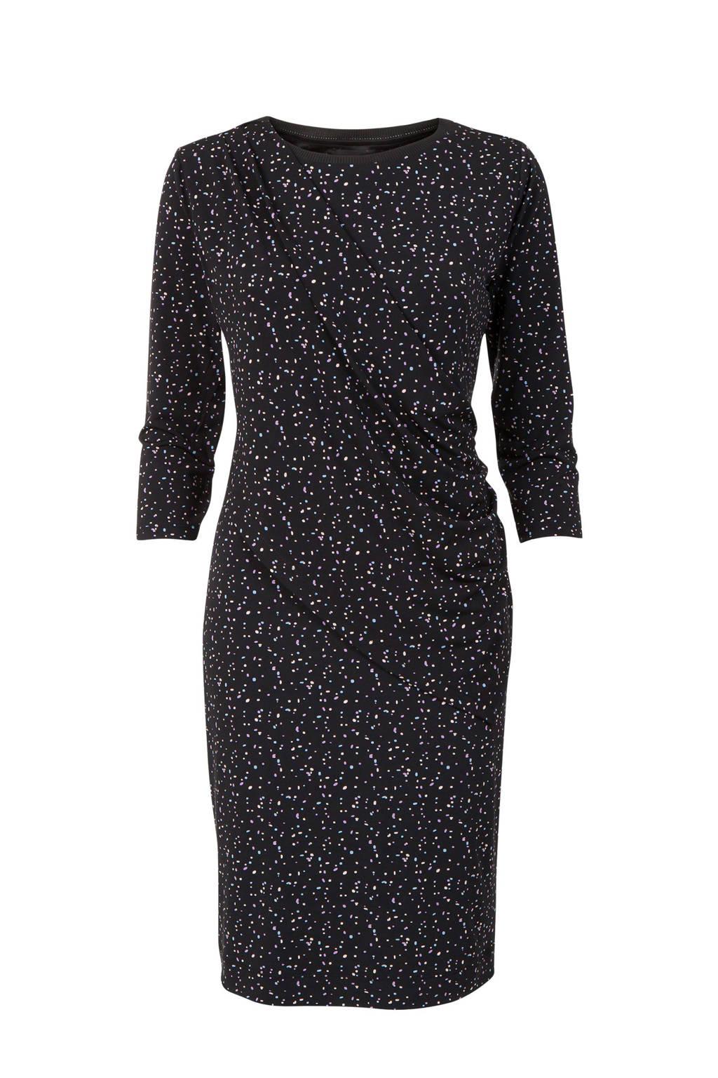 Promiss jurk met all over print zwart, Zwart