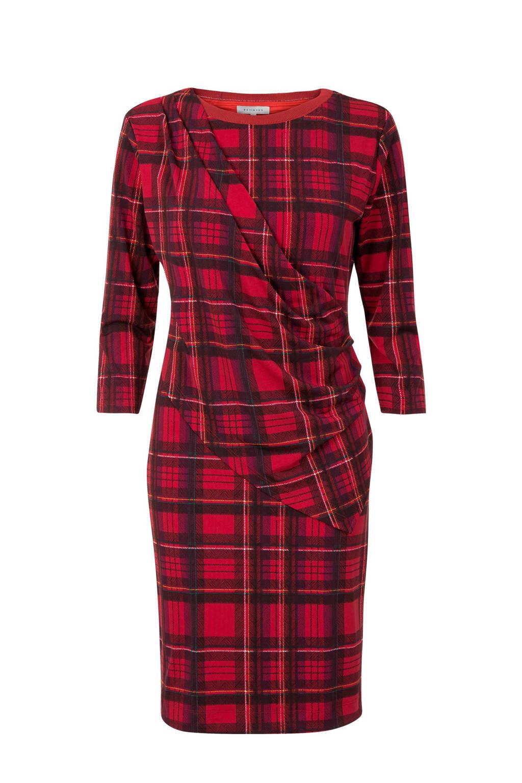 Promiss jurk met ruitprint rood, Rood