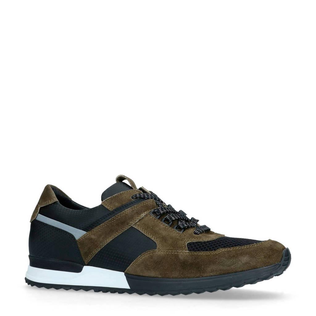 Manfield  nubuck sneakers groen, Groen