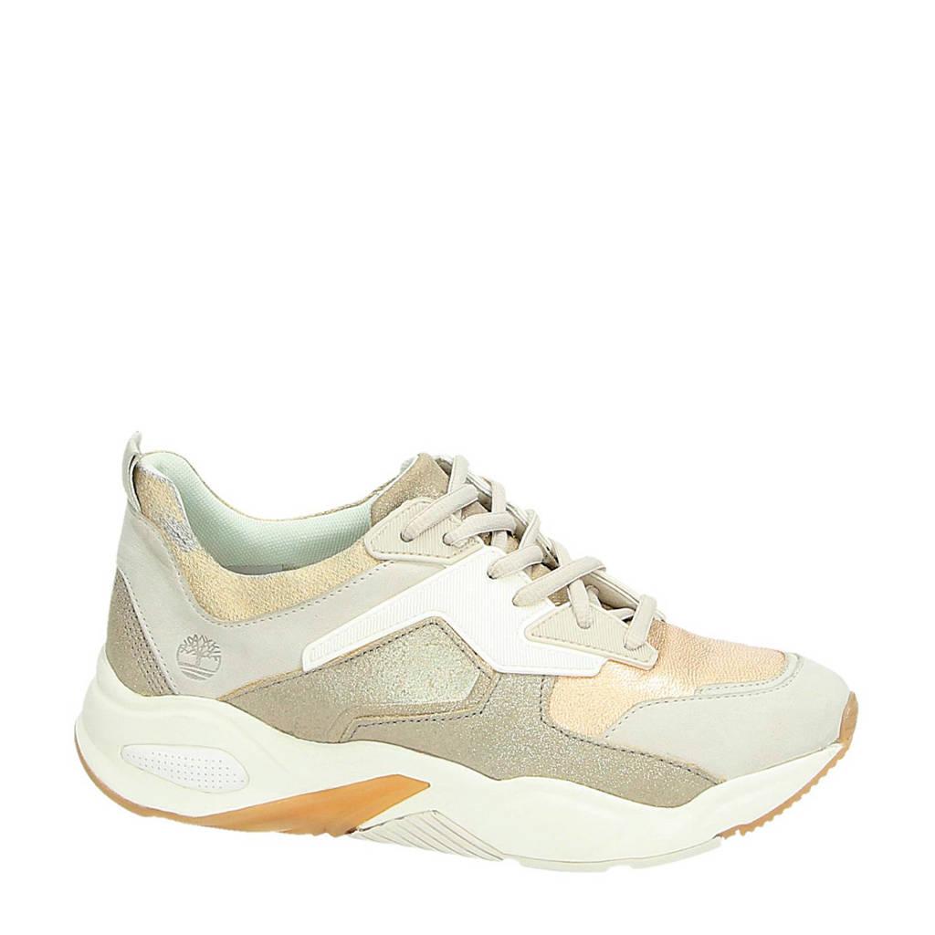 Timberland  Delphiville leren chunky sneakers goud, Ecru/goud