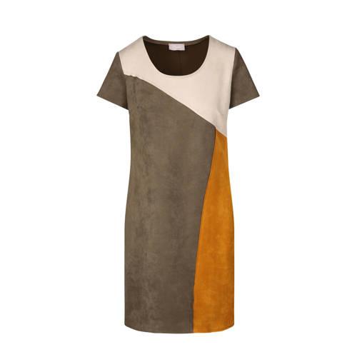 Cassis suèdine jurk kaki/geel/ecru kopen