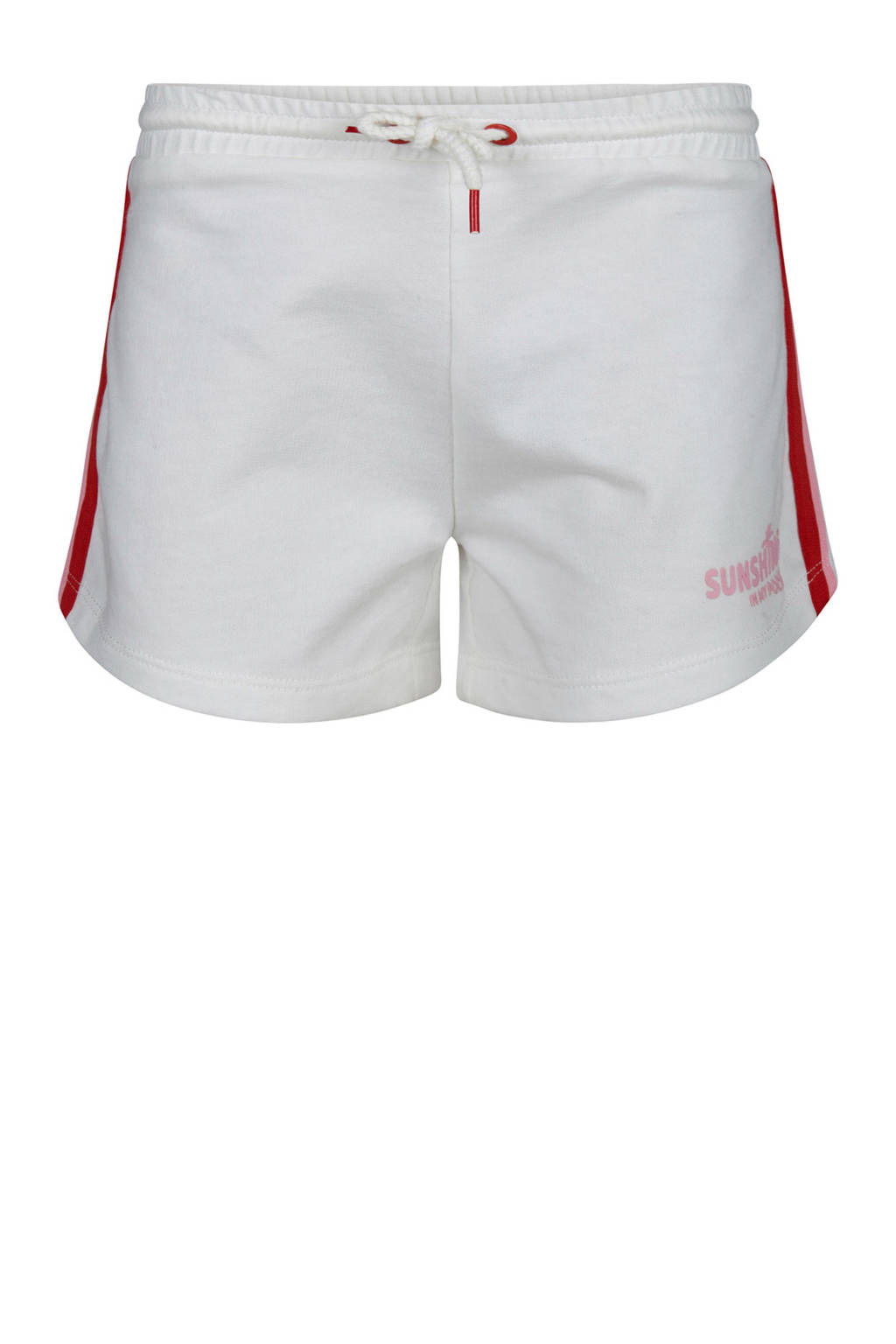 WE Fashion sweatshort met zijstreep wit, Wit