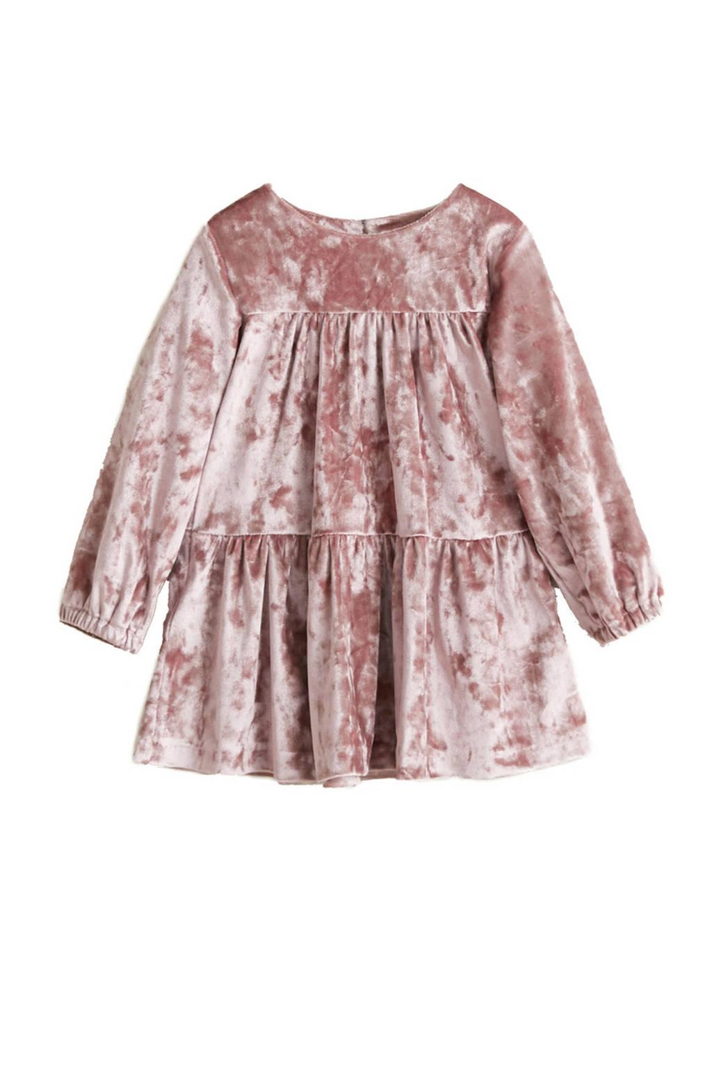 Mango Kids fluwelen jurk oudroze, Oudroze