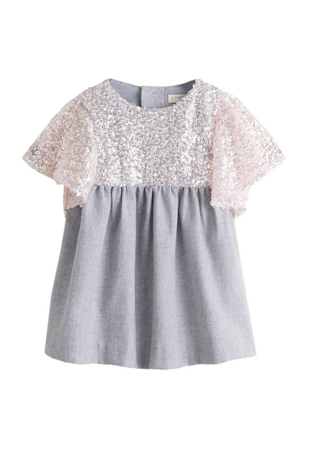7b982829f32daa Mango Kids jurk met pailletten grijs offwhite