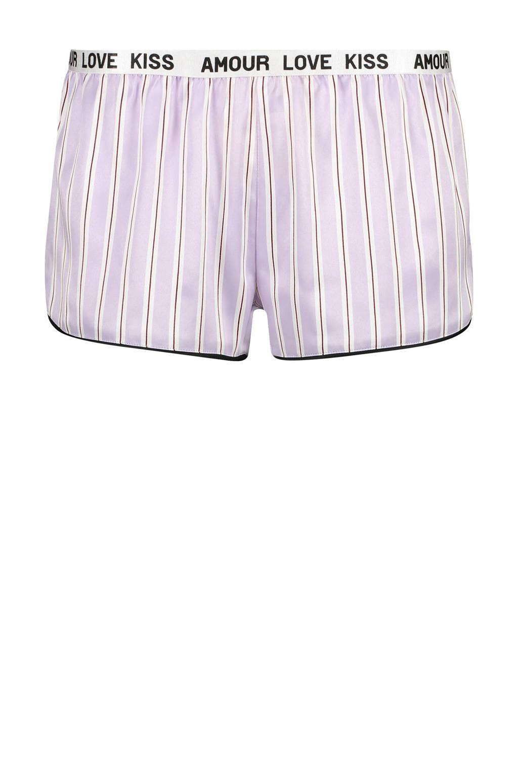 Hunkemöller pyjamashort met streepdessin lila, Paars