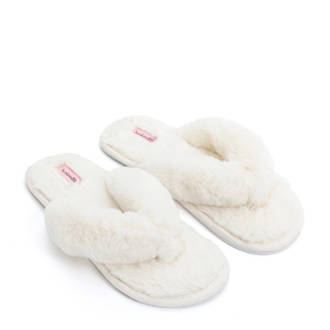 huisslippers fake fur wit
