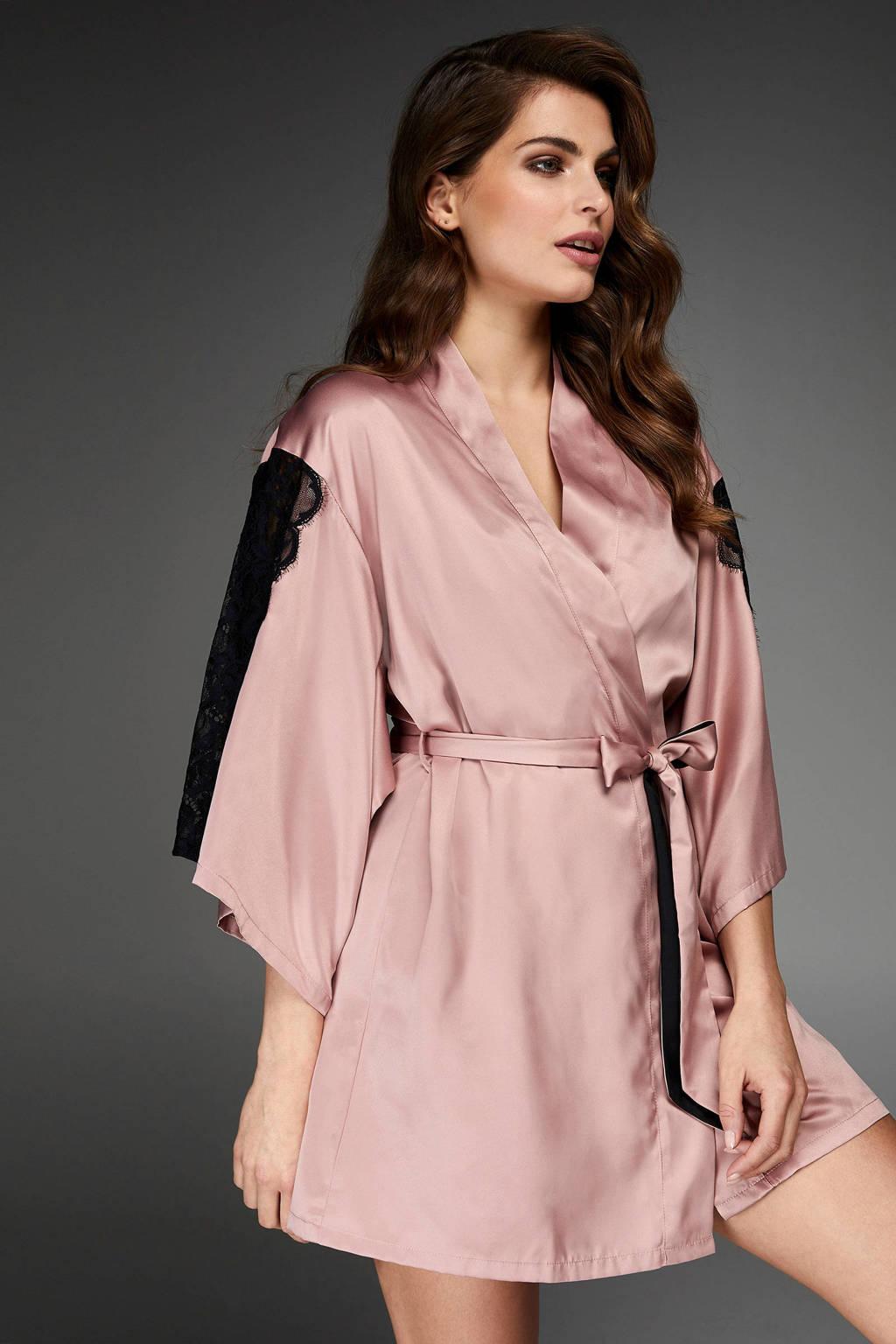 Hunkemöller kimono met kant oudroze/zwart, Oudroze/zwart