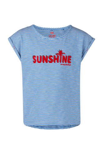 gestreept T-shirt met tekst blauw