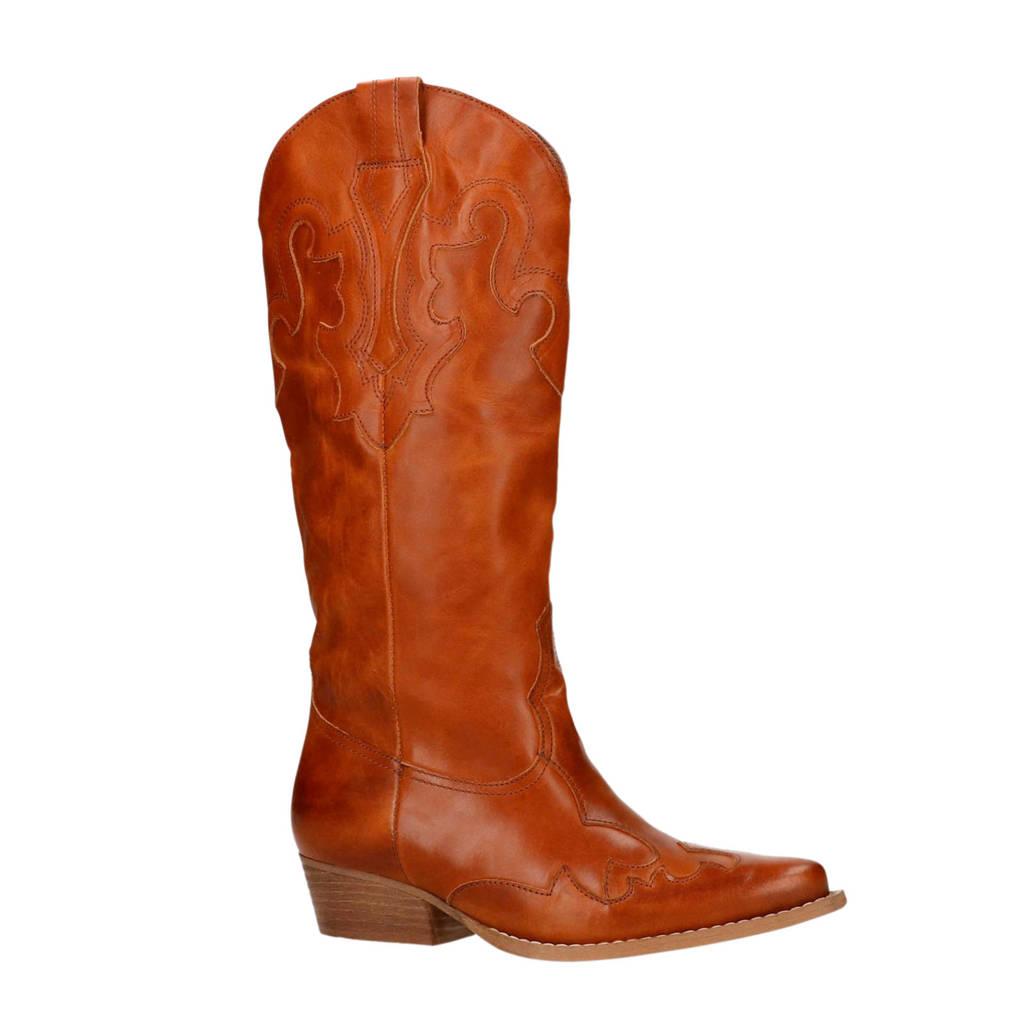 Sacha leren cowboy boots cognac, Bruin