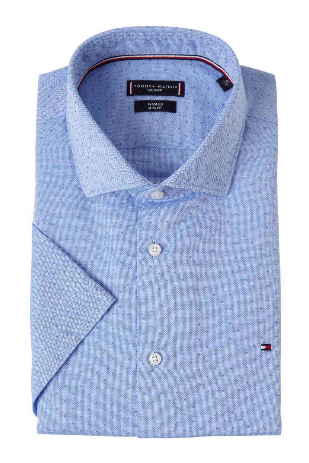 Tommy Hilfiger Tailored slim fit overhemd met print blauw, Blauw