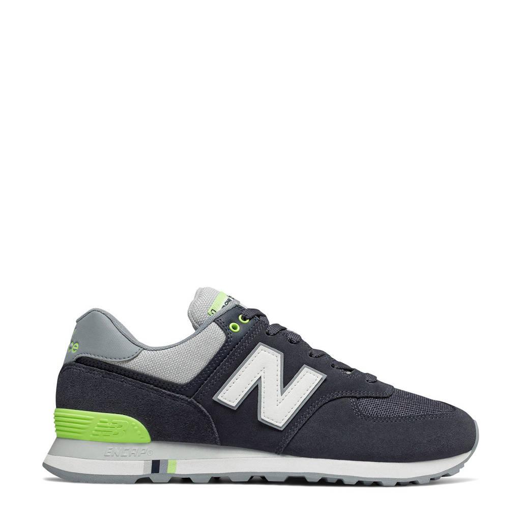 New Balance 574 sneakers donkerblauw/limegroen/grijs, Donkerblauw/limegroen/grijs