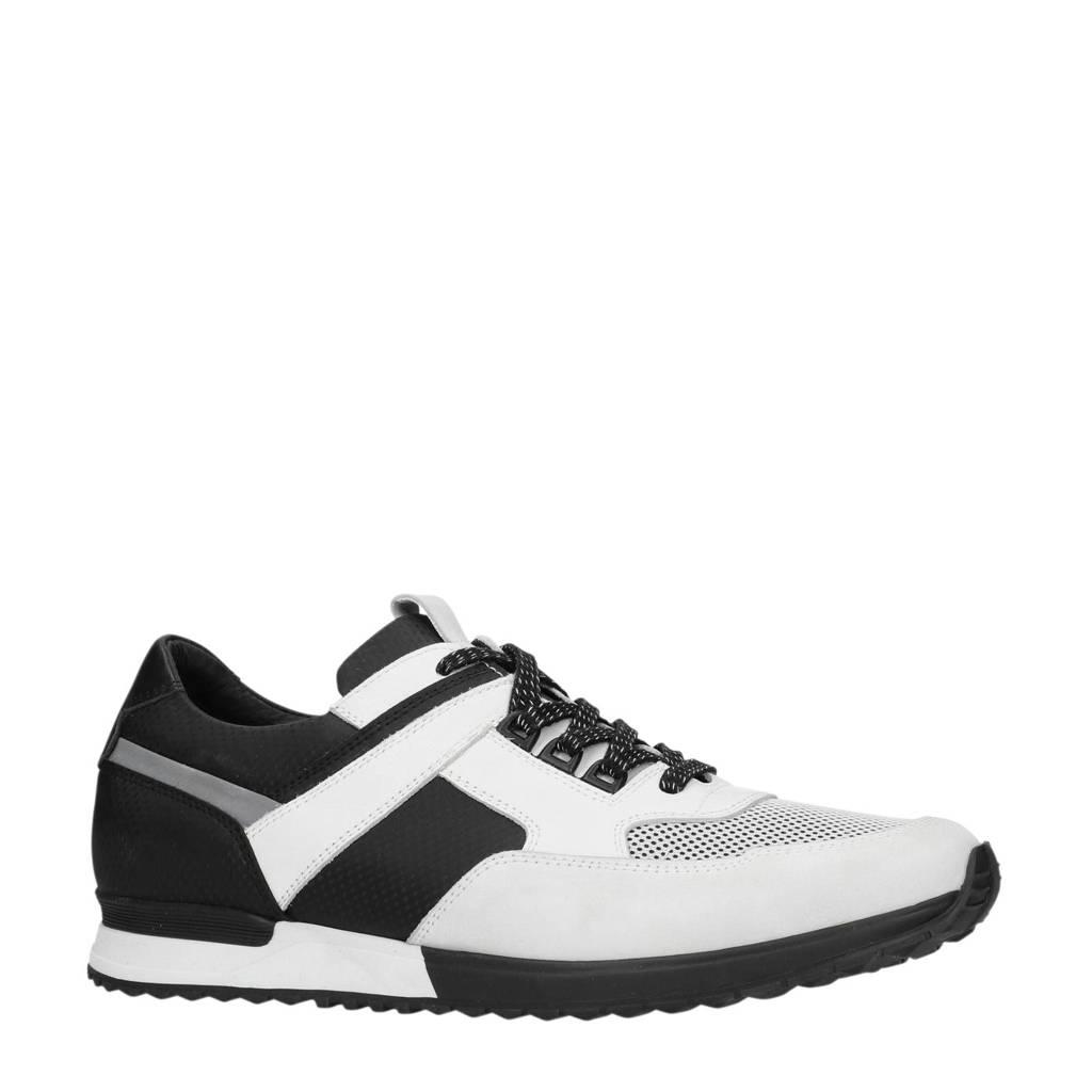 Manfield  nubuck sneakers wit/zwart, Wit/zwart