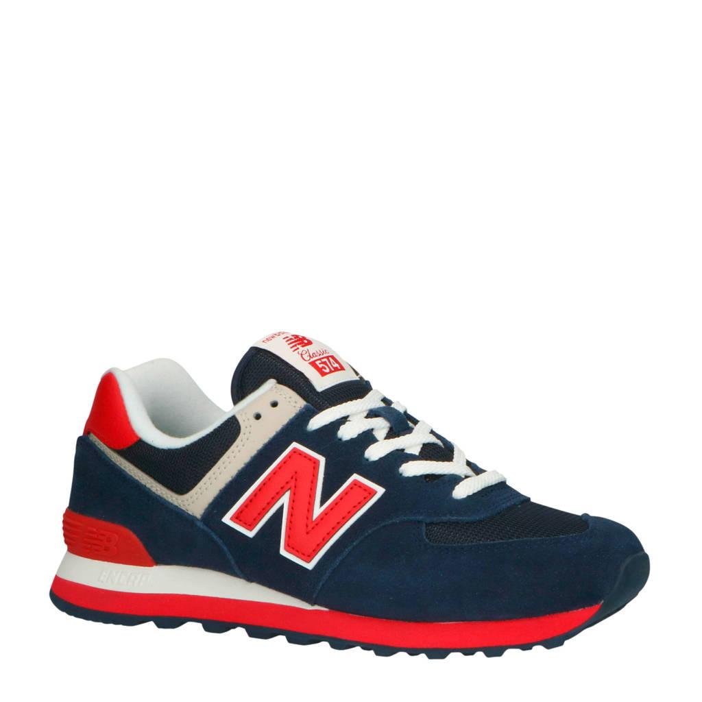 New Balance 574 sneakers donkerblauw/rood/ecru, Donkerblauw/rood/ecru