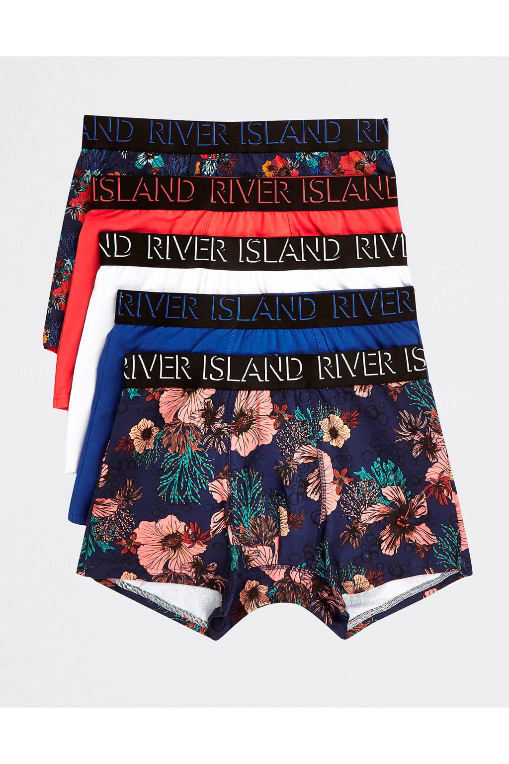 River Island boxershort - set van 5, Rood/ blauw/ wit